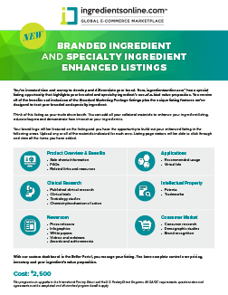 Branded and Speciality Enhanced Ingredient Listings