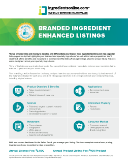 Branded and Enhanced Specialty Ingredient Listings
